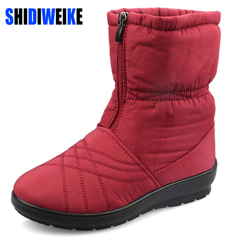 Plus Size Waterproof Warm Fur Snow Boots Winter Shoes Woman