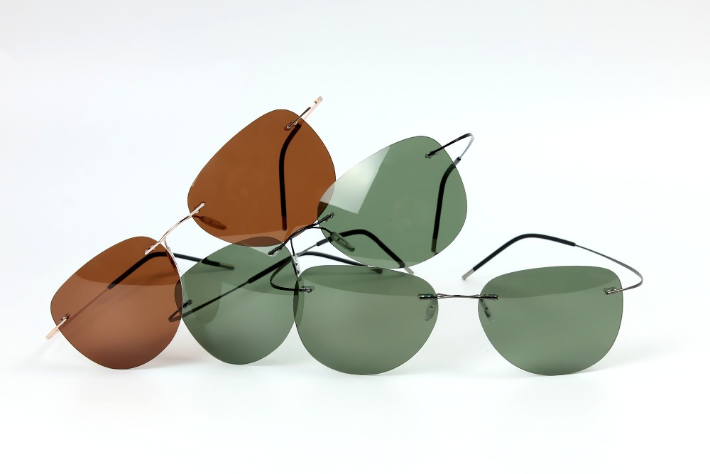 GENUINE Brand B Titanium Ultra light Rimless brown sunglasses Polarized NV Driving mens Sunglasses designer SPORT sun glasses