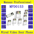 One to Eight Video Door Phone Access Control System,4.3 '' Display Screen Wired Monitor Apartment Video Intercom Doorbells D153b
