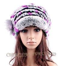 Бесплатная доставка CX-C-154D цветочный декор женщины мода трикотажные кролика зимняя шапка