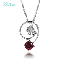 I&zuan 925 silver jewelry natural 1.04ct red garnet butterfly pendant necklaces for women fine jewelry party wedding accessories