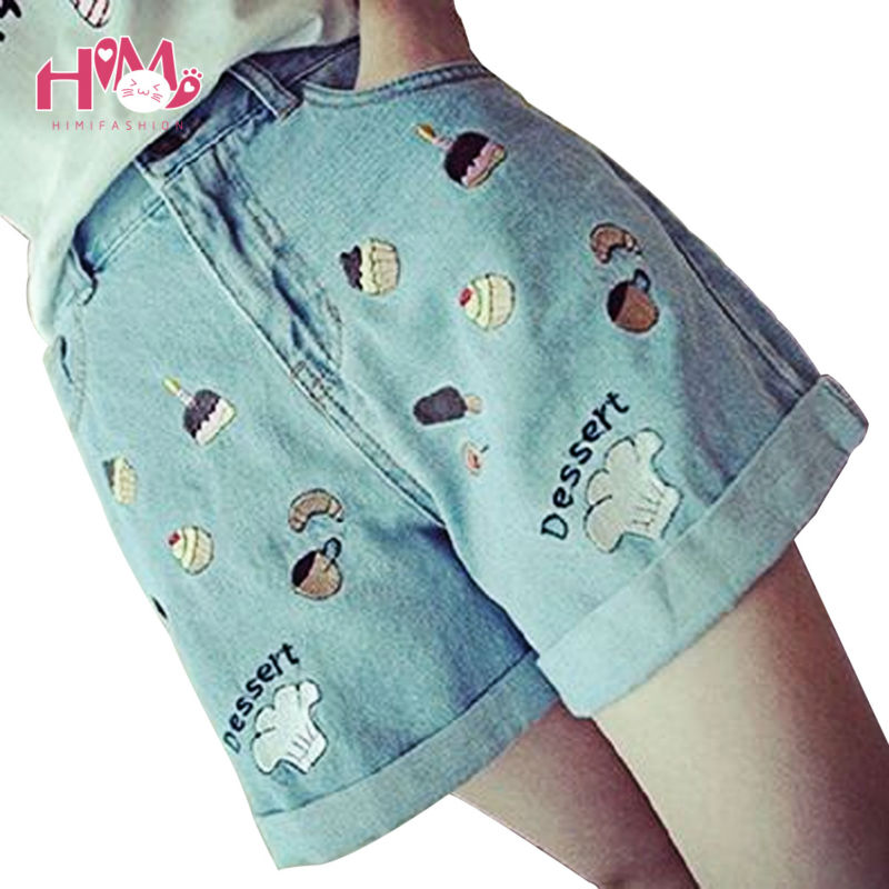 Shorts Women Jeans Size XL 2017 Summer Cakes Graphic Denim Shorts Vintage Patchwork Straight Loose Cute Shorts Womens Clothing 1