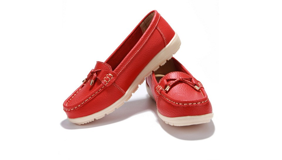 Leather women flats shoes 6