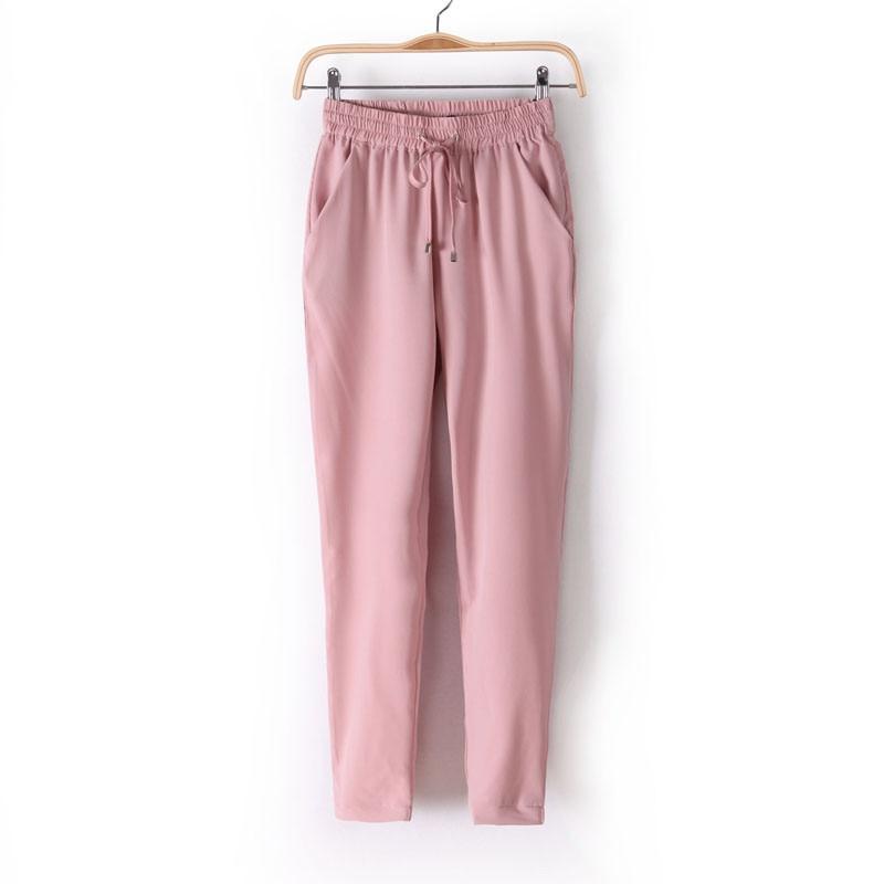 Chiffon Elastic Waist Solid Color Office Pants 8