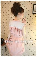 бесплатная доставка новый розовый рукавов платье из шифона с кружевом милый платье-рубашка япония и корея стиль с коротким бесплатная размер платья