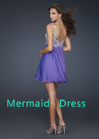 md086 горячая распродажа коктейльное платье сексуальное двойной фиолетовый и слоновая кость аппликация короткие коктейльное платье / нарядное платье