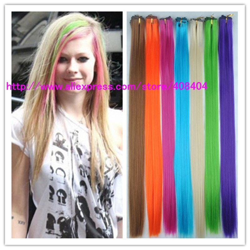 Fashion 20 Cheap Colored Clip In Hair Extensions Synthetic Bright