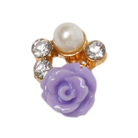 10 pcs/pack Fashion Glitter Manicure Diy Tools Purple Rose Nail Art Stickers3d Nail Art Decotation YNA-0400