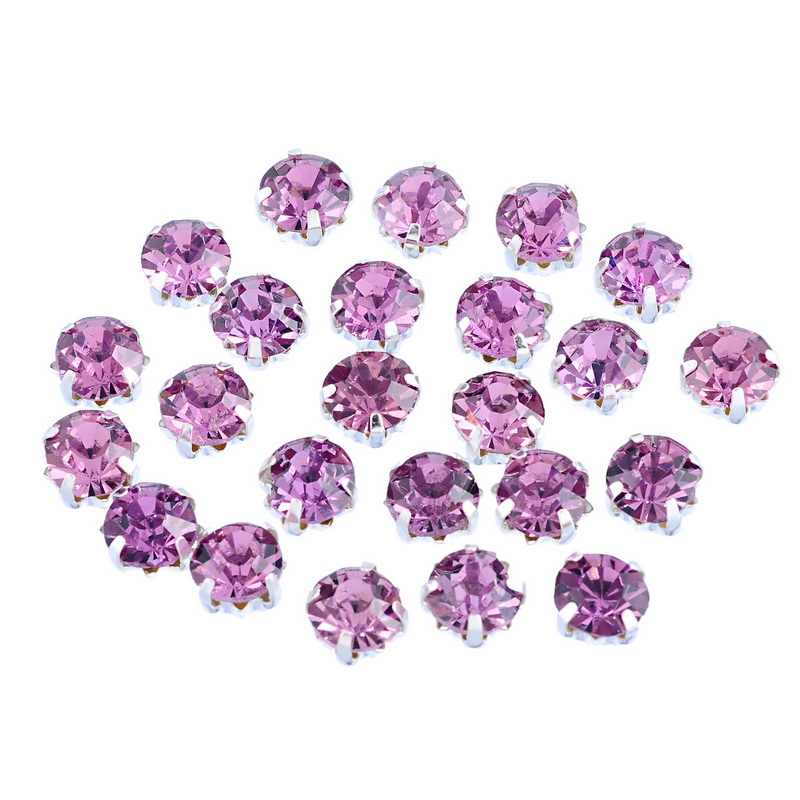 LASPERAL Rhinestones Beads 50PCs Mauve Glass Single Claw Clear Crystal Cham Beads For diy Charm Bracelets Making Jewelry 4x4mm