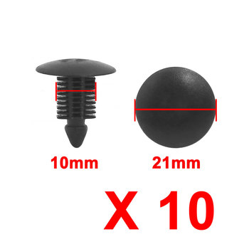 X Autohaux Auto Car Door  Bumper 10Mm Hole Plastic Rivets Fastener Clips 10Pcs