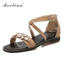 Véritable Dames En Cuir Sandales D'été Chaussures Plates Sandales De Luxe Strass Appartements Croix Sangle Chaussures Femmes Blanc Jaune Taille 9 10