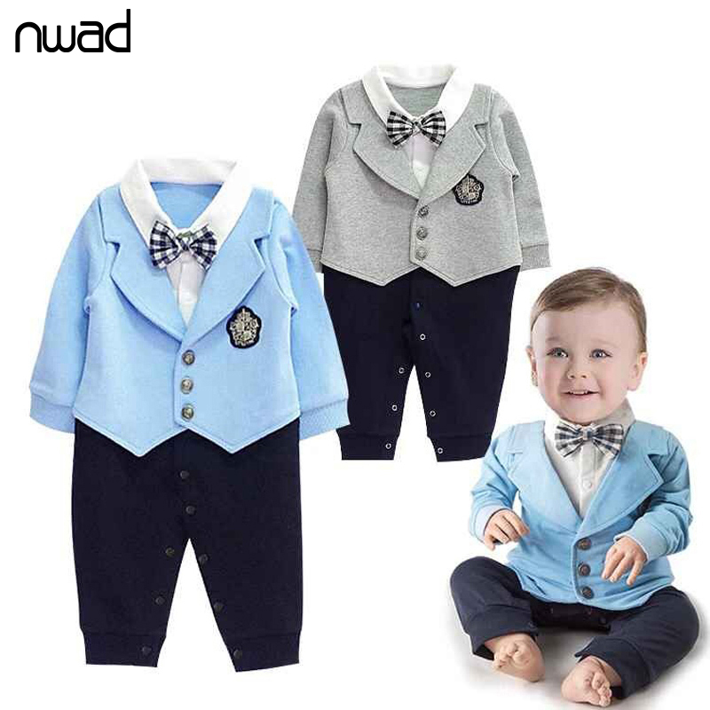 Baby Boy Gentleman Clothes 2017 Fashion Spring Autumn Romper For Toddler Clothing Children One-Pieces Jumpsuit With Bow FF018 9 12m baby boy set monkey print clothes for children newborn baby boy clothing corduroy 2017 autumn clothes 2pcs boy outwears