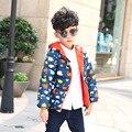 2016 nueva Con Capucha Girls & Boys chaqueta de Invierno A Prueba de Viento niños Prendas de Abrigo y Capa de Los Niños Abrigos de Moda chaqueta de Los Niños
