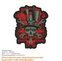 New Arrival Large Skull TEAM 3D Iron on Parches For Clothing Handmade embroidery Appliqued Eco Friendly Embroidered Patch