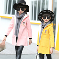 2016 New Girls Winter Woolen Coat Children Baby Girls Clothing Kids Overcoat Long Sleeve Hooded Zipper Long Outwear for Girls