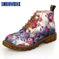 Fashion Women Boots Floral Printed Martin Boots Soft Sole Ankle Boots Lace Up Platform Shoes Woman