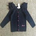 12 М-4 Т Бесплатная доставка розничная один шт девушки детские girloriginal высокое качество девушка Вязание шерсть Кардиган темно-синий свитер