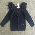 12 M-4 T Frete grátis varejo um pcs girloriginal alta qualidade do bebê da menina da menina Cardigan De Tricô de lã camisola azul escuro