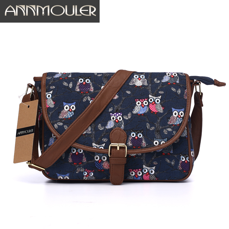 Annmouler Брендовые женские маленькие сумки, холщовые сумки-мессенджеры через плечо, Лоскутная сумка на молнии с принтом совы, сумка через плечо...