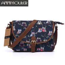 Annmouler Brand Women Small Bags Canvas Shoulder Messenger Bags Patchwork Zipper Bag Owl Printing Adjustable Strap Crossbody Bag(China)