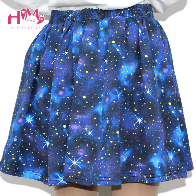 Harajuku Starry sky skirt astral print skirts summer tutu cotton skirt blue color emoji starry galaxy skirt cotton free shipping (5)