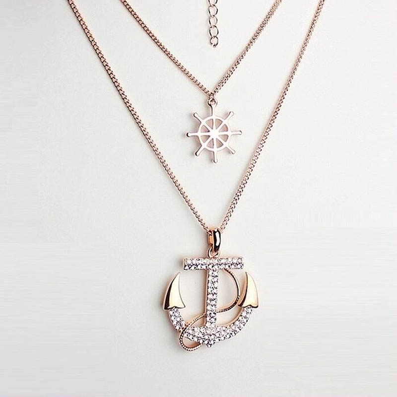 New Fashion Women jewelry Lady Alloy Diament Anchor Sweater Chain Necklace & Pendants XL441