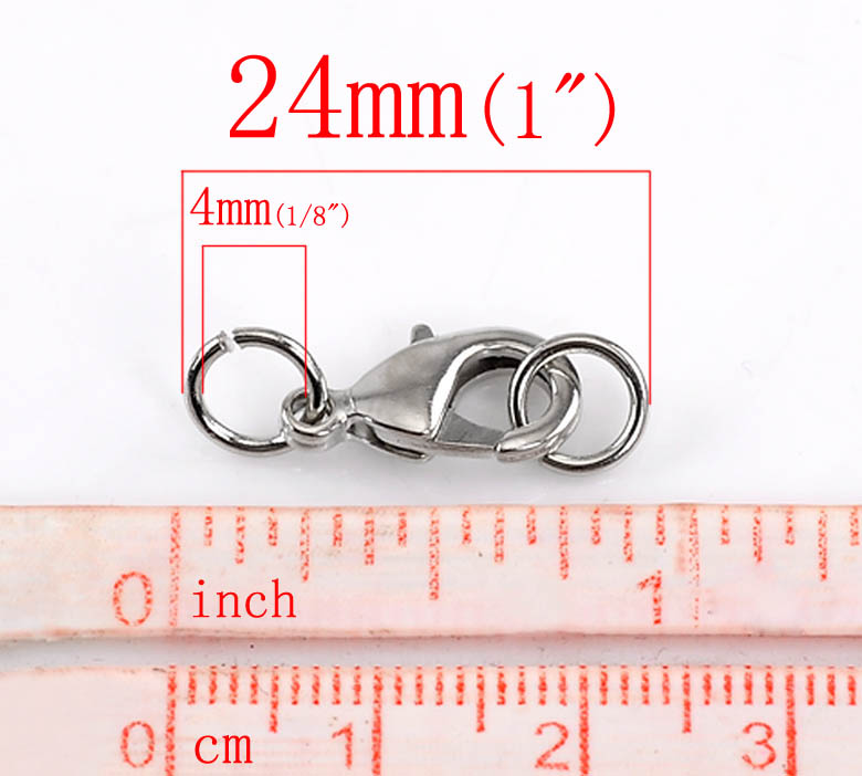 """20PCs Silver Tone Lobster Clasp Findings W// Rings 24x9mm 1/""""x 3//8/"""""""