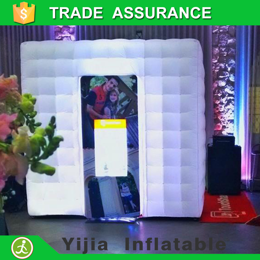 Custom white color Led inflatable photo booth for sale