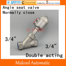 Pneumatic Stainless steel Angle seat valve  3/4″ inch BSP DN20 double acting normally close high temperature steam water