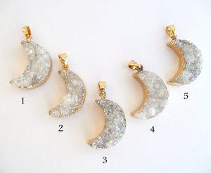 Image 3 - WT N541 חמה למכירה חצי ירח תליון לנשים eletroplated הטבעי druzy בשער עם זהב סהר שרשרת תכשיטי אופנה