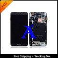 Envío Libre 100% probado original Para Samsung Galaxy note 3 N900 LCD Digitalizador Asamblea con marco Blanco/gris