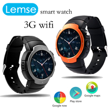 Lem3 smart watch mtk6580 quad core soporte sim del teléfono android 5.1 os tarjeta de Voz GPS Mapa 3G WiFi APP Descargar pk x5 s99 i2 d5