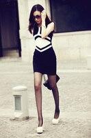 бесплатная доставка, женская геометрические узоры черный Scout тонкий-подходят платье без рукавов - мини платье # 20005