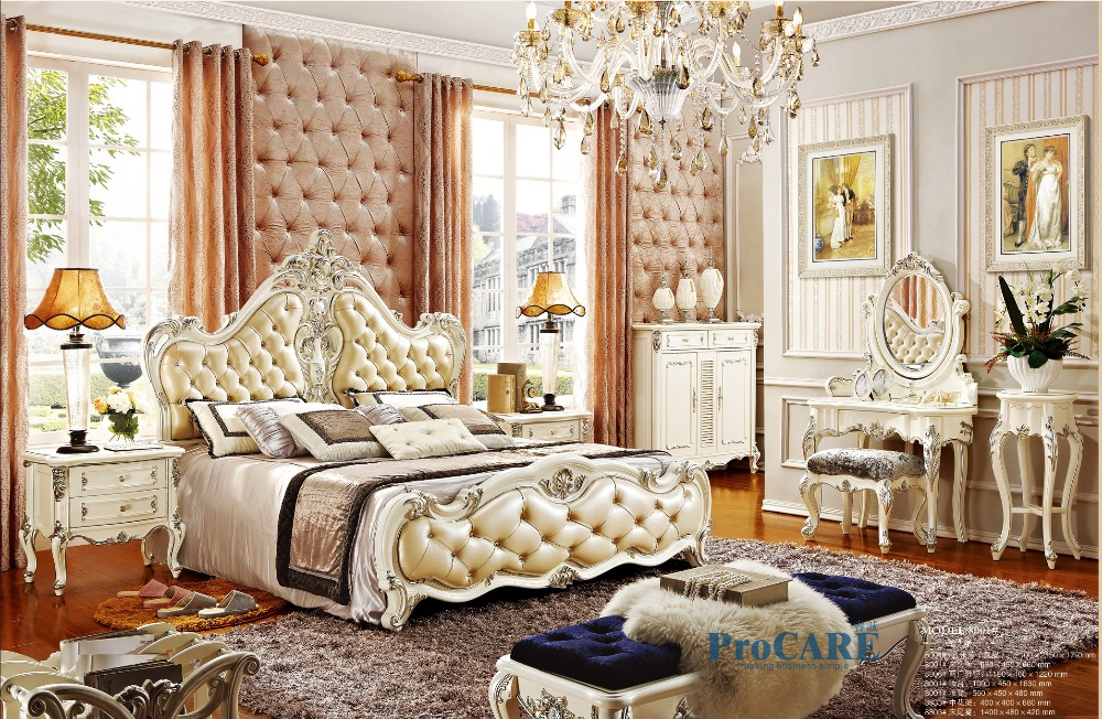 Luxury European Royal Style White Solid Wood Hand Carved Antique Bedroom  Furniture Set With 1.8m Genuine Leather Bed  PRF8001