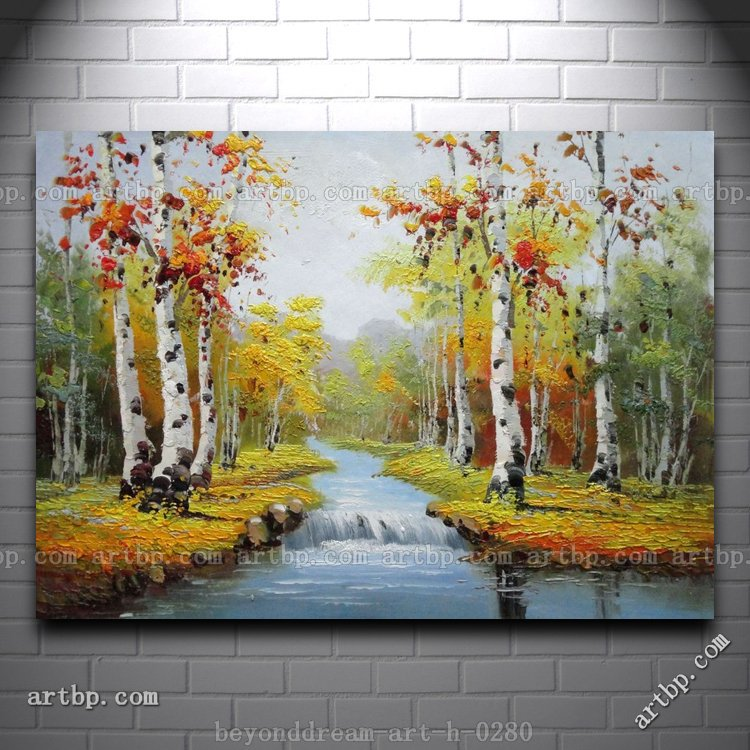 Graceful Waterside Red And Yellow Birch Trees Landscape Oil Painting Abstract Techniques Large Acrylic Paintings Free Shi In Calligraphy From