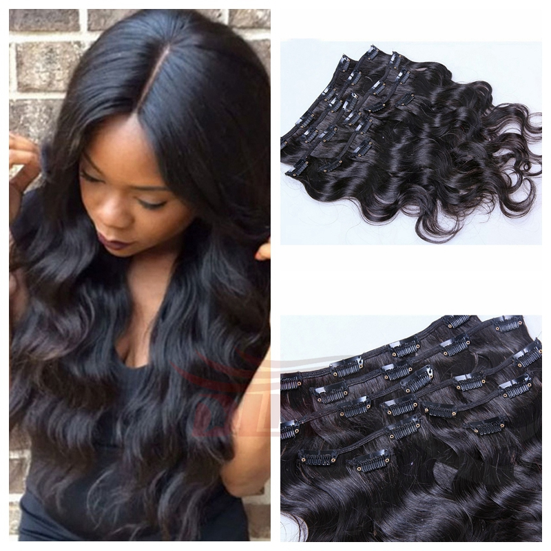 Clip In Sets 8pcs Thick Hair Extensions 100 Remy Human Hair Weaves