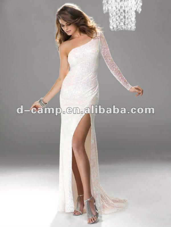 Free Shipping Oc 926w Sparkly Sequin Elegant One Shoulder Long