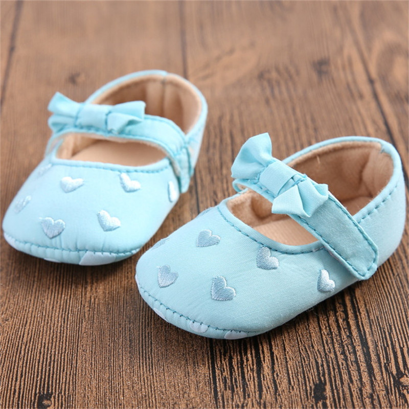 New Casual Baby Shoes Age 0-18 Month Little Girl First Walkers Newborn Sapatos Bowknot Heart-shaped Infant Toddler Shoes