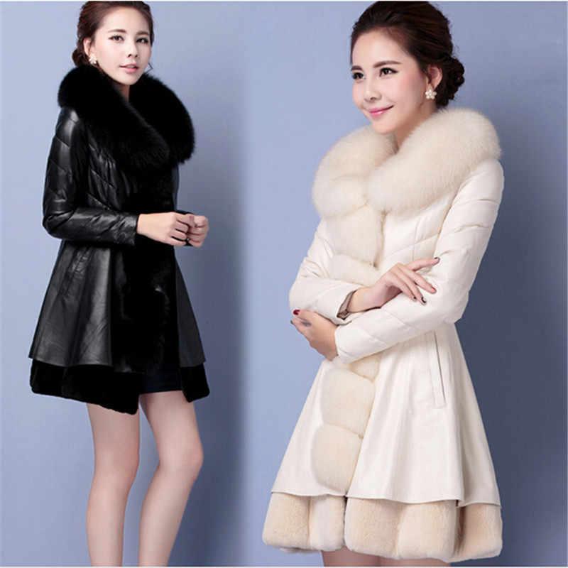 Abrigo abrigado de cuero de la ropa de abajo de la chaqueta de invierno de las mujeres abrigo de gran tamaño de zorro collares de algodón de moda de PU abrigo de invierno BN1428