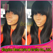Fashion!!! Human Hair Brazilian Virgin Human Hair Glueless Full Lace Wig With Bangs Wet Straight Lace Front Wigs For Black Women