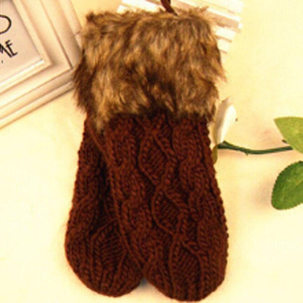 Hotsale Cute Ladies Girls Mitten Knitting Wool Fur Halter Wrist Winter Warm Gloves Women 5 Colors GLV0073