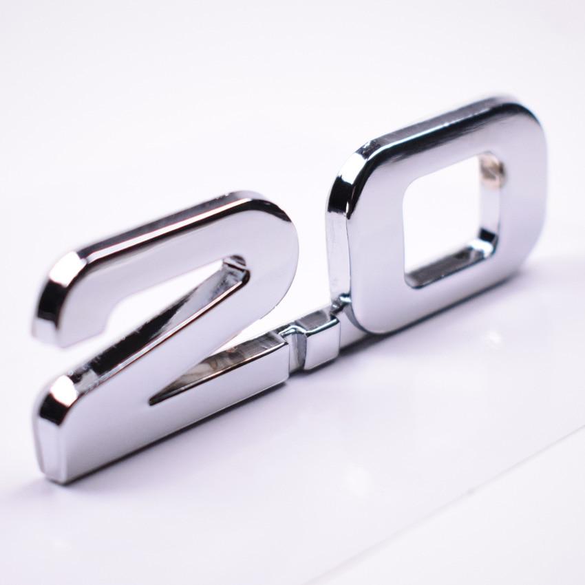 Yaquicka metal prata 3d 2.0 2.0 t carro traseiro tronco emblema adesivo para bmw audi ford toyota volkswagen etc carro auto-estilo
