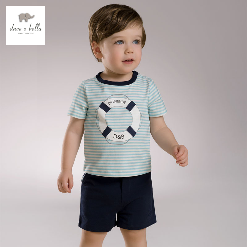 DB3539 dave bella summer baby boys striped clothing set kids sailor stylish clothes boys cool soft clothing set август явич утро андрей руднев