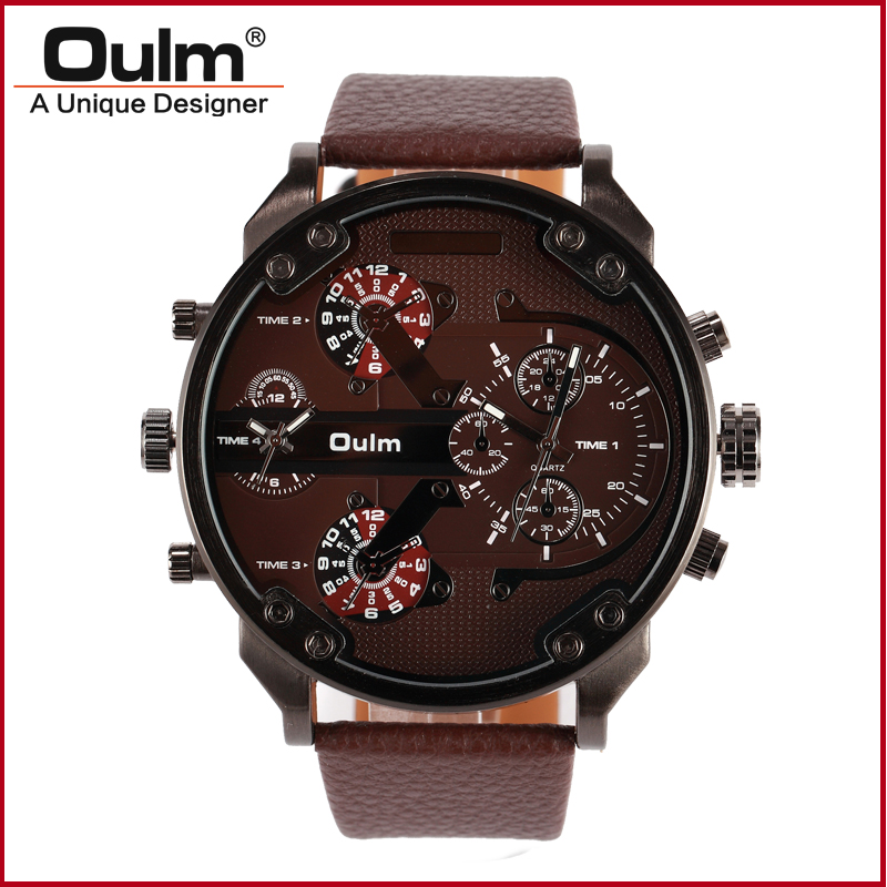 Guangzhou oulm watch factory direct sell quartz watch dual time zone big face men wristwatches guangzhou feie factory ea vf29