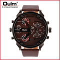 Guangzhou oulm watch factory direct sell quartz watch dual time zone big face men wristwatches