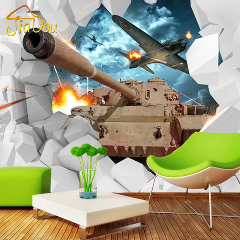 Custom mural 3d stereoscopic tanks wall paper military for Airplane cockpit wall mural