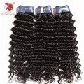 """3 pçs/lote grau 6A Brasileiro virgem da onda profunda extensões de cabelo humano preto natural do cabelo tece 12-30 """"o transporte DHL frete grátis"""