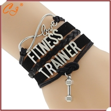 Top Quality Infinity Love FITNESS health Rope Bracelet Customized sports Wristband friendship Bracelets F-CTSLB0212