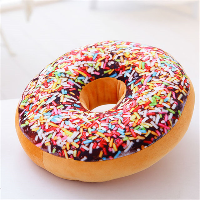 Sweet Chocolates Donuts Cushion 60cm 3D Food Round Pillow Seat Sofa Cushions  Kids Birthday Gift Toy