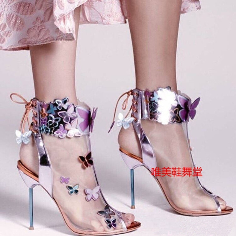 2017 Spring Summer New Butterfly Net Yarn Women Pumps Open Toe Thin High Heels Zapatos Mujer Fashion Sweet Wedding Shoes Woman 2017 new spring summer shoes for women high heeled wedding pointed toe fashion women s pumps ladies zapatos mujer high heels 9cm